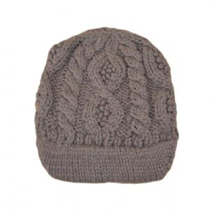 Ex Asos Brown White Cable Knitted Winter Fluffy Jaxon Skully Hat Visor Beanie | FD&K